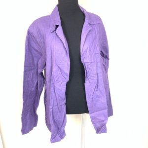 NWT COLDWATER CREEK PURPLE LINEN JACKET SIZE LARGE